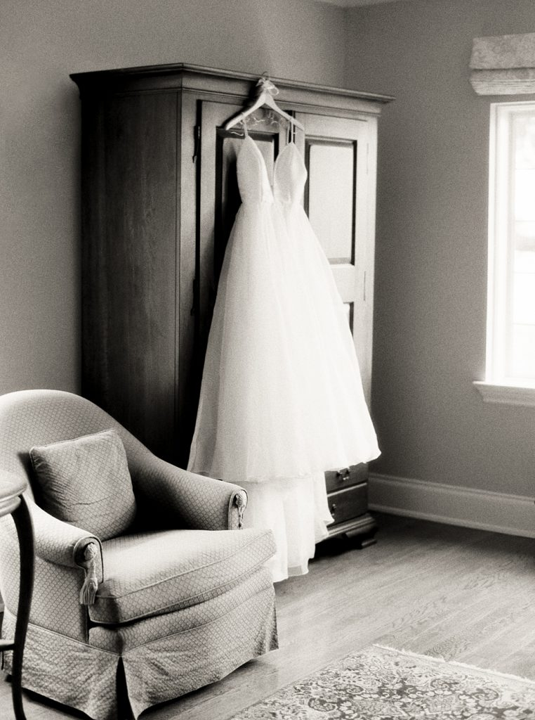 Hanging dress in bridal suite