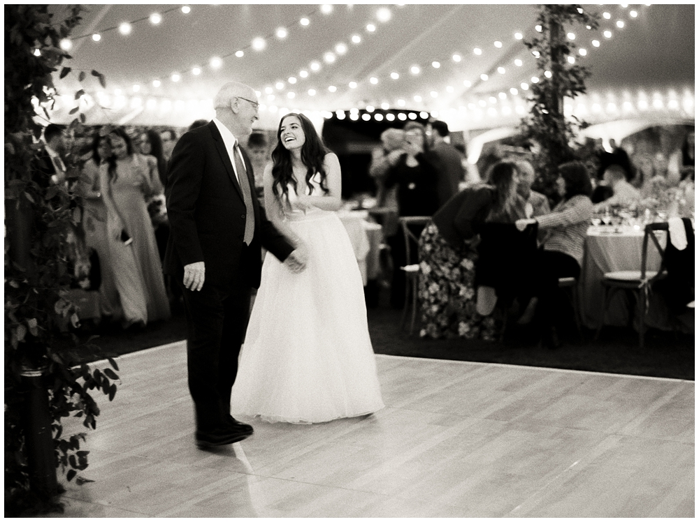 Father of the bride's dance with his daughter at private estate reception