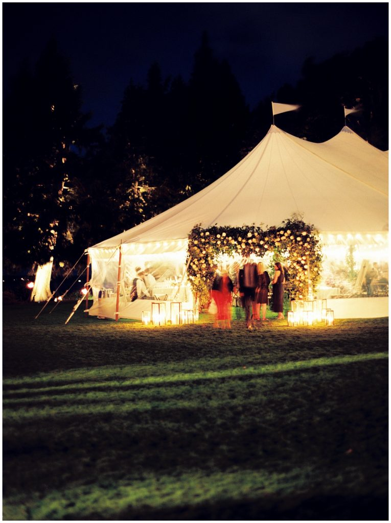 Outside of the reception tent after dark
